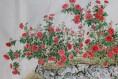 설파/안창수 화백의 장미(薔薇)-가로133cm x 세로70cm 화선지에 수묵채색