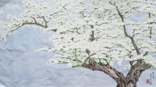 설파,안창수 화백의 이팝나무 - 가로135cm x 세로70cm  화선지에 수묵채색