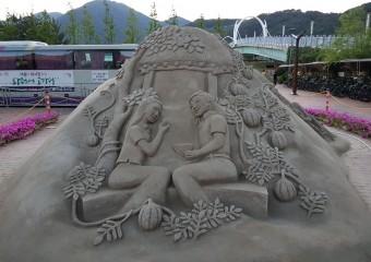 양산의 여름을 물들이는 '모래조각' 전시/ 모래조각, 여름테마와 함께 시원한 여름 보내세요